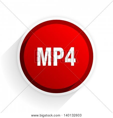 mp4 flat icon with shadow on white background, red modern design web element