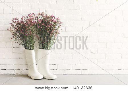 Rainboots Flower Creativity Concept