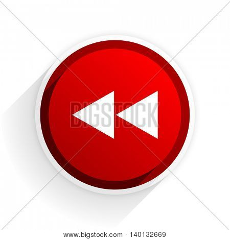 rewind flat icon with shadow on white background, red modern design web element