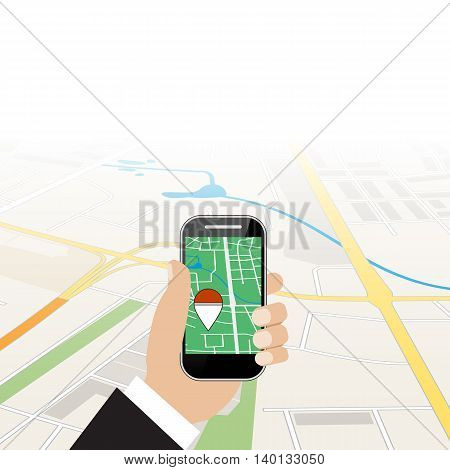 Hand holding mobile phone. Game locations. Search balls. Vector illustration in flat style