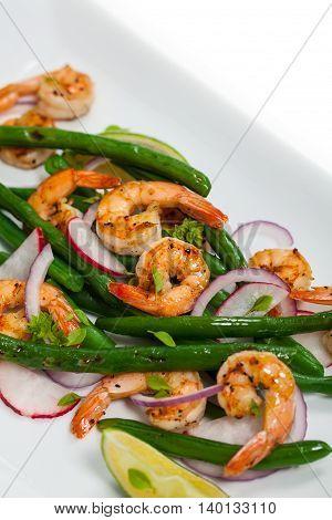 Green Bean Salad with Shrimp. Selective focus.