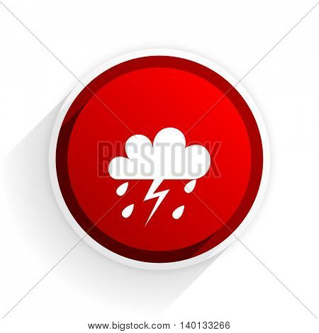 storm flat icon with shadow on white background, red modern design web element
