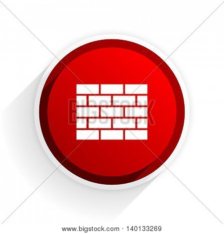 firewall flat icon with shadow on white background, red modern design web element