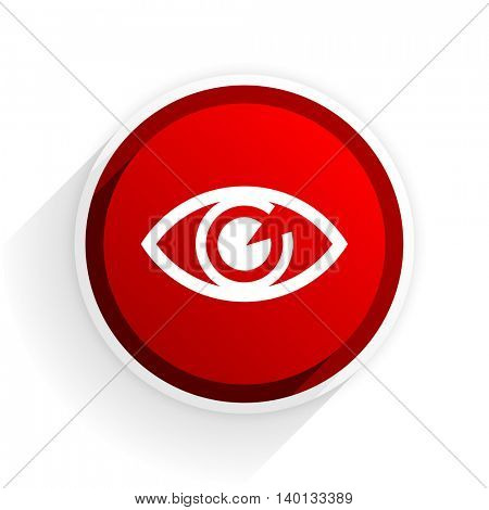 eye flat icon with shadow on white background, red modern design web element