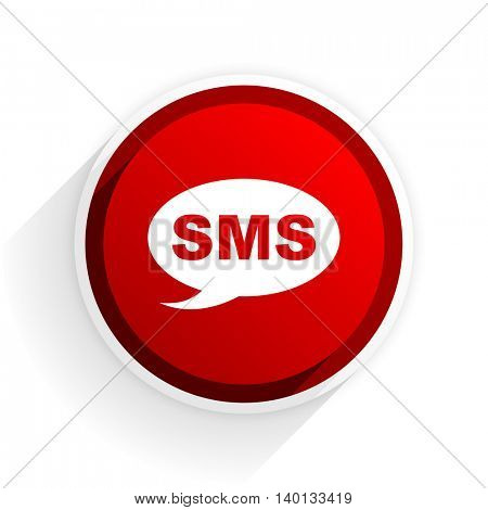 sms flat icon with shadow on white background, red modern design web element