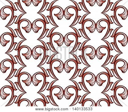 Light brown vertical pattern of vines on a white background