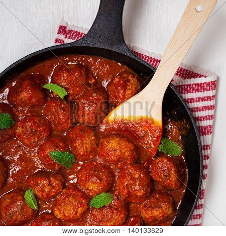 Homemade Meatballs in tomato sauce. Selective focus.