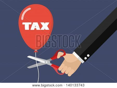 Big hand cutting tax balloon string with scissors. Business concept