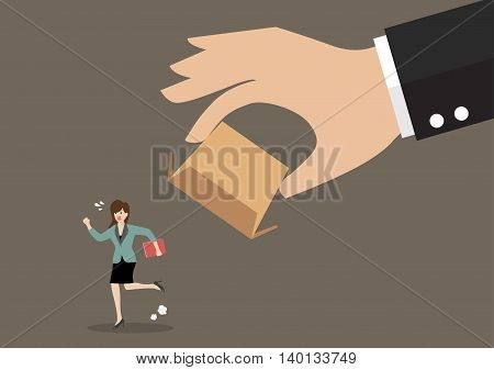 Business woman running away from cardboard box. Business concept