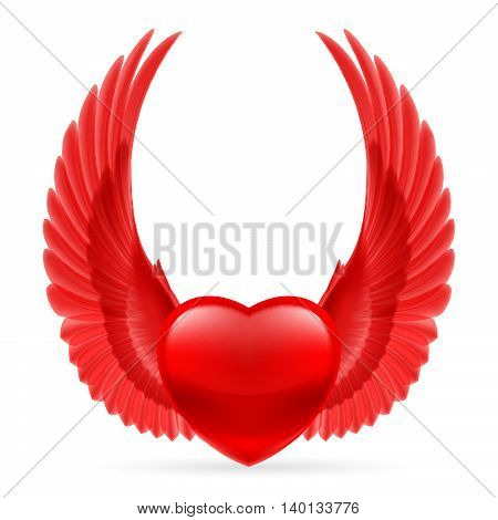 Red heart with bright red wings up.
