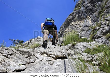 rock climbing on a sunny summer day