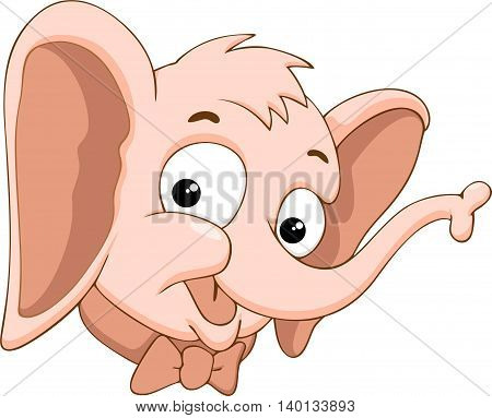 Head of cute elephant in cartoon style on a white background