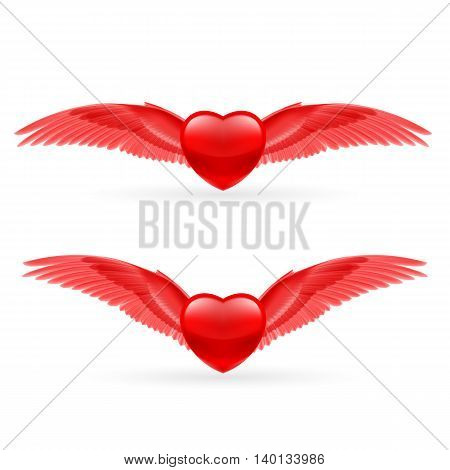 Two red hearts with bright red wings.