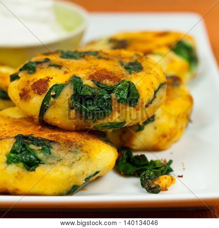 Mashed Potato Cakes With Spinach. Selective focus.