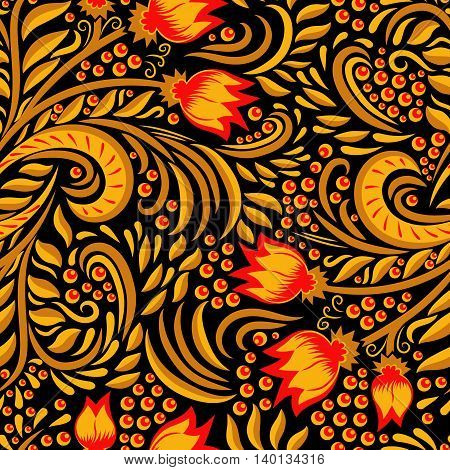 Khokhloma decorated gold and red seamless texture on black background