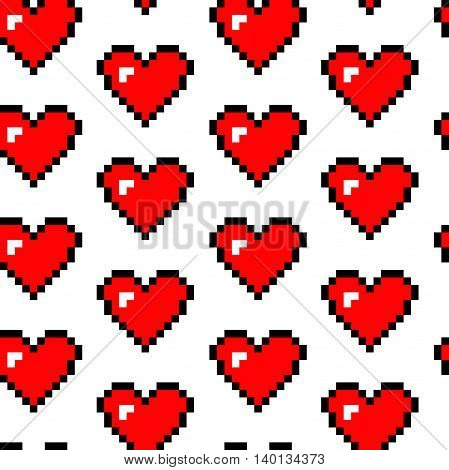 Hearts symbol.  White background. Vector seamless pattern.