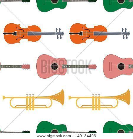 Seamless pattern of music instrument, vector illustration