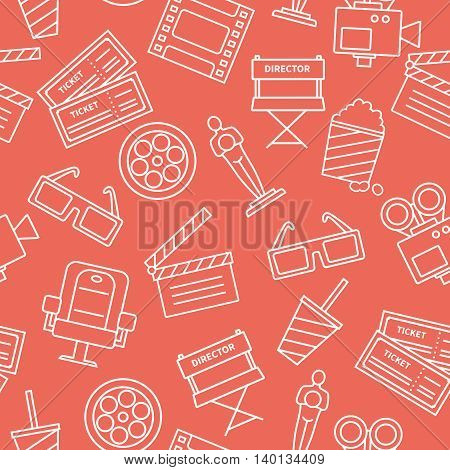 White line cinema icons on red background decorative pattern with tickets popcorn flat vector illustration