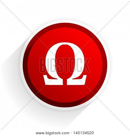 omega flat icon with shadow on white background, red modern design web element