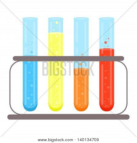 Test tubes icon. Vector flat design.Tripod with flasks for chemical, laboratory, medical, scientific or school use.