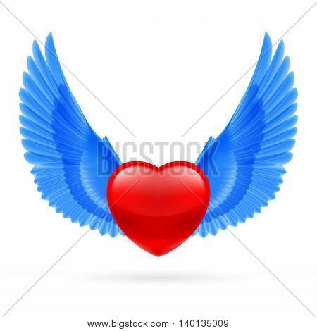 Red heart with raised bright blue wings.