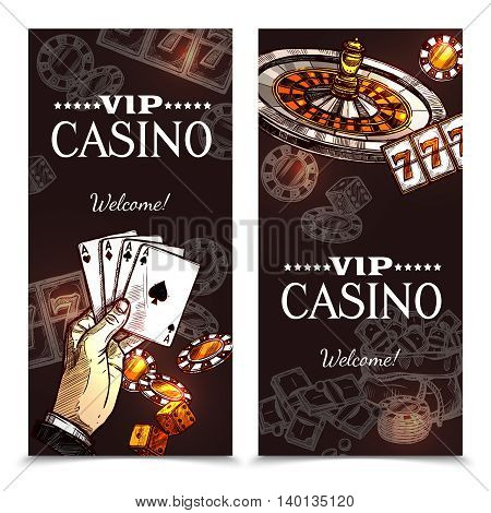 Vip casino color vertical banners with image of hand with playing cards roulette and chips in sketch style vector illustration