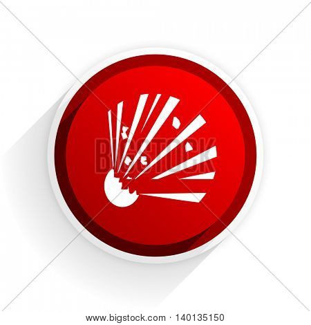 bomb flat icon with shadow on white background, red modern design web element