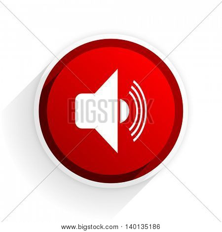 volume flat icon with shadow on white background, red modern design web element