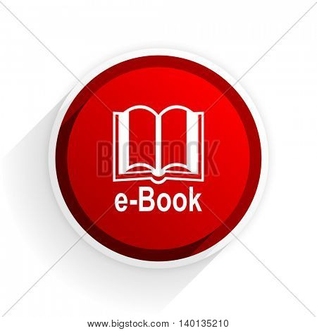 e-book flat icon with shadow on white background, red modern design web element