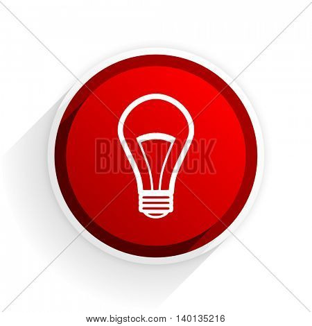 bulb flat icon with shadow on white background, red modern design web element