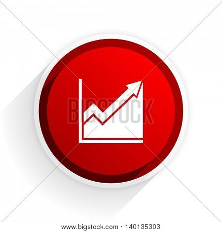 histogram flat icon with shadow on white background, red modern design web element