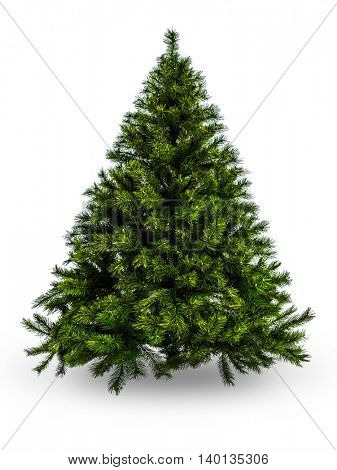 Artificial Christmas tree without decoration on white background