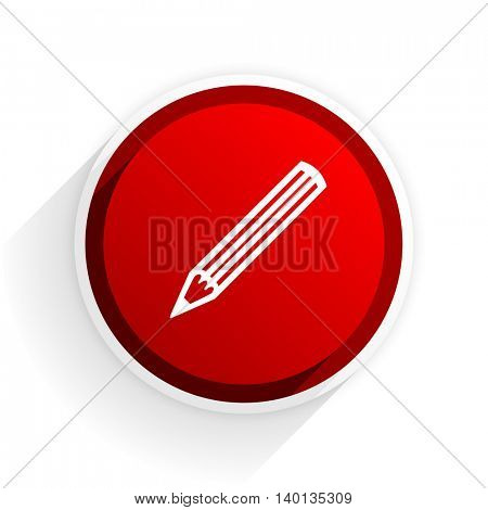 pencil flat icon with shadow on white background, red modern design web element