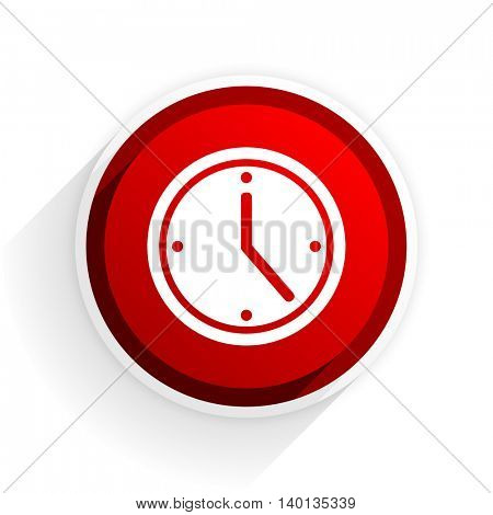 time flat icon with shadow on white background, red modern design web element