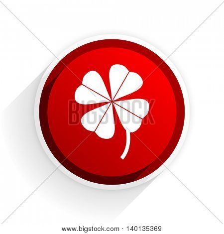 four-leaf clover flat icon with shadow on white background, red modern design web element