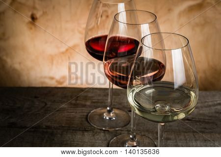 Selection of wine for tasting, copy space