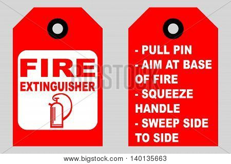 How to use a fire extinguisher informational tags front and back side vector symbol and text