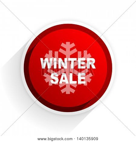 winter sale flat icon with shadow on white background, red modern design web element