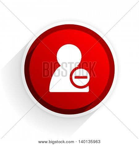 remove contact flat icon with shadow on white background, red modern design web element