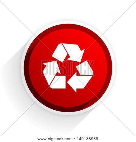 recycle flat icon with shadow on white background, red modern design web element