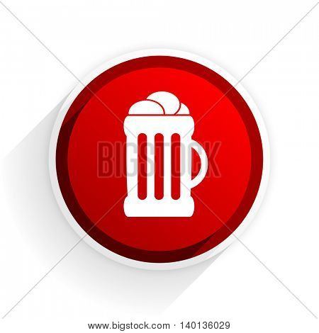 beer flat icon with shadow on white background, red modern design web element