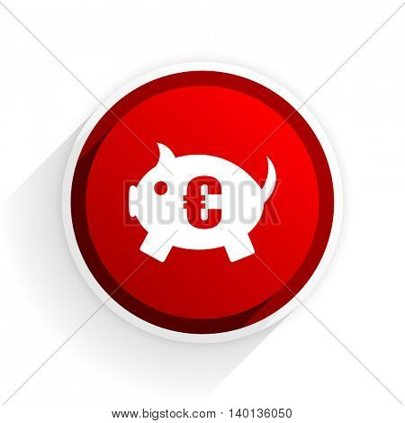 piggy bank flat icon with shadow on white background, red modern design web element