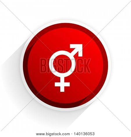sex flat icon with shadow on white background, red modern design web element