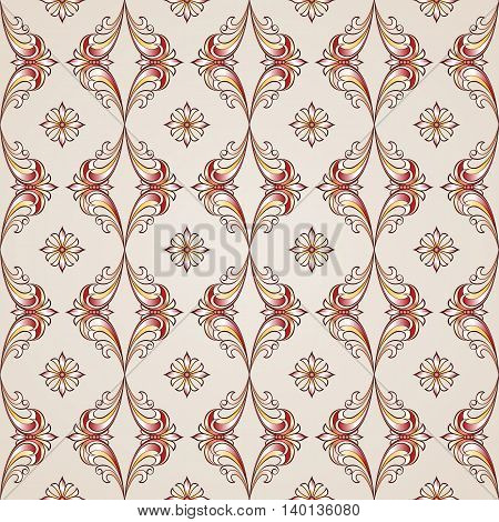 Floral vintage style seamless pattern in red golden and rose pink shades