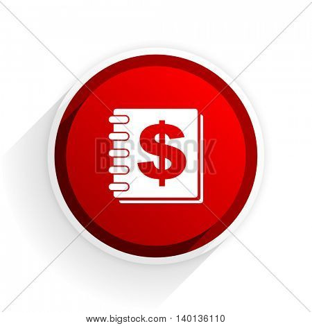 money flat icon with shadow on white background, red modern design web element