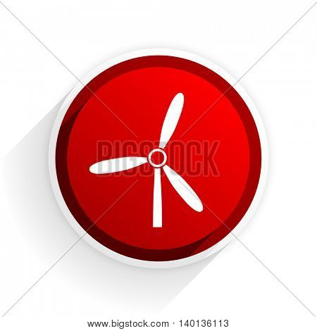windmill flat icon with shadow on white background, red modern design web element