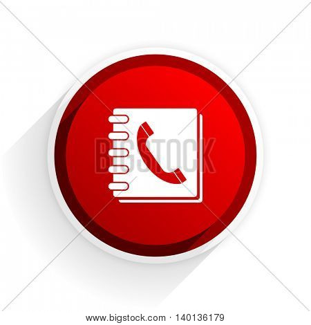 phonebook flat icon with shadow on white background, red modern design web element