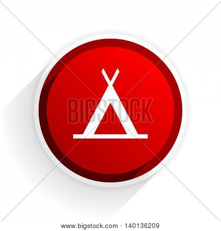 camp flat icon with shadow on white background, red modern design web element