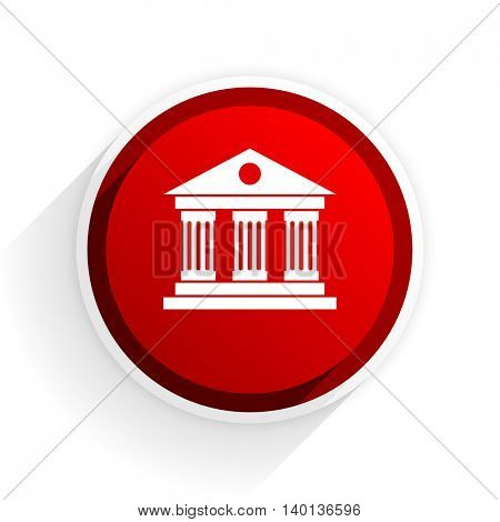 museum flat icon with shadow on white background, red modern design web element