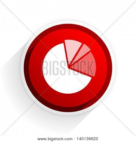 diagram flat icon with shadow on white background, red modern design web element